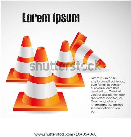 traffic cones isolated on white background, vector illustration. - stock vector
