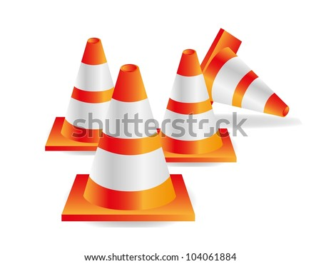 traffic cones isolated on white background, vector illustration.