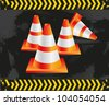 traffic cones on grunge background with signals, vector illustration. - stock photo