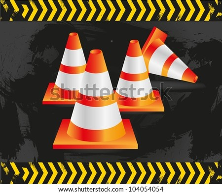 traffic cones on grunge background with signals, vector illustration. - stock vector