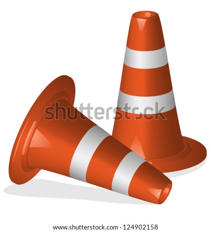 Traffic cones, use with or without white stripes. EPS10 Vector - stock vector