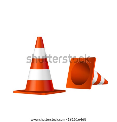 Traffic cones vector isolated object - stock vector