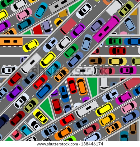 Traffic congestion on roads for modern city problems concept. Jpeg (bitmap) version also available in gallery - stock vector