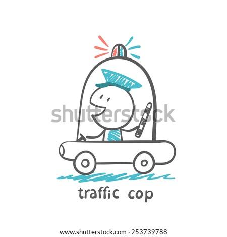 traffic cop in a police car, illustrator - stock vector