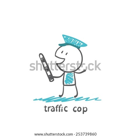 traffic cop with a stick illustrator - stock vector