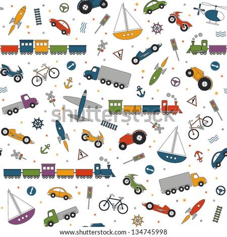 traffic elements pattern - stock vector