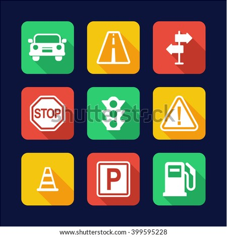 Traffic Icons Flat Design