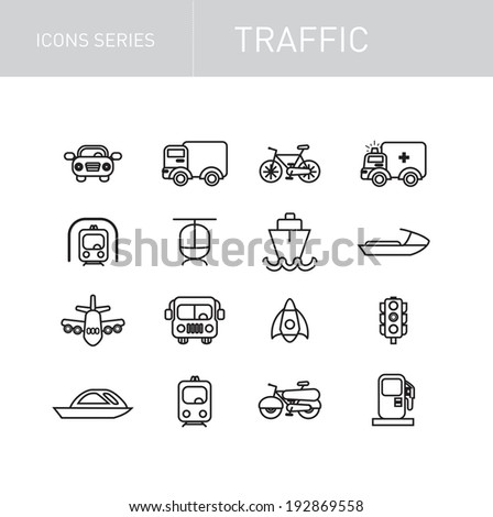 traffic icons series isolated on white - stock vector