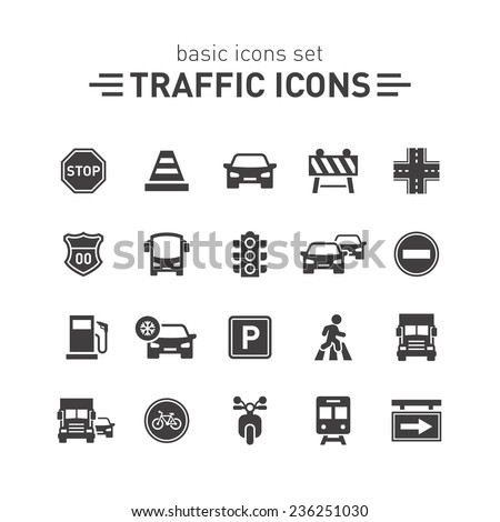 Traffic icons set. - stock vector