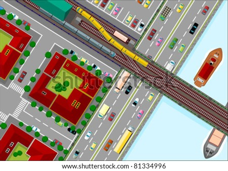 traffic in the city - stock vector