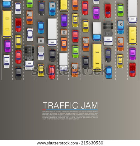 Traffic jam on the road, Road transportation, Vector background - stock vector