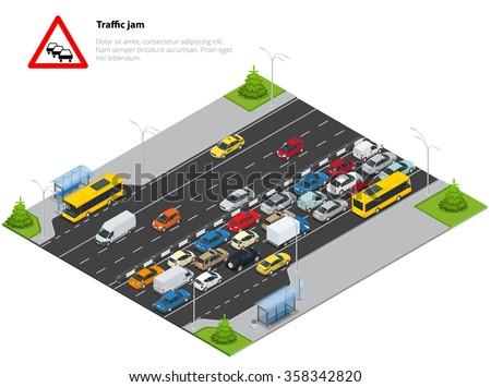 Traffic jam on the road. Sign for traffic jam. Rush hour. Transport car, urban and asphalt, traffic. Isometric vector illustration for infographics. City traffic. - stock vector