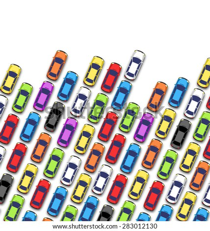 Traffic jam on the road with cars isolated on white background - stock vector