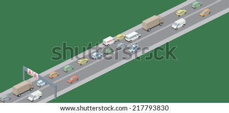 Traffic jam right hand drive vehicles - stock vector