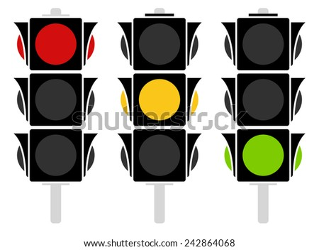 Traffic lamp silhouettes - stock vector