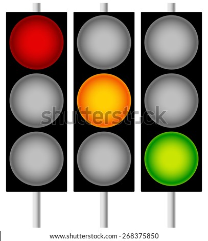 Traffic Lamps, Traffic Lights, Semaphores Isolated on White. Editable Vector Graphics - stock vector