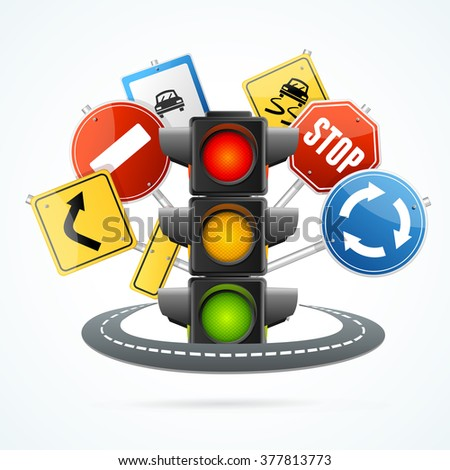 Traffic Light and Road Sign Concept. Vector illustration