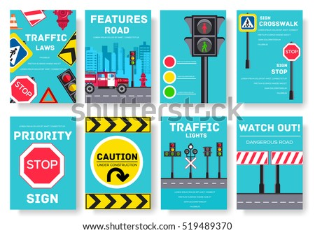 Traffic light day vector brochure cards set. Urban sign template of flyear, magazines, poster, book cover, banners. Road transportation invitation concept  background. Layout illustrations modern page