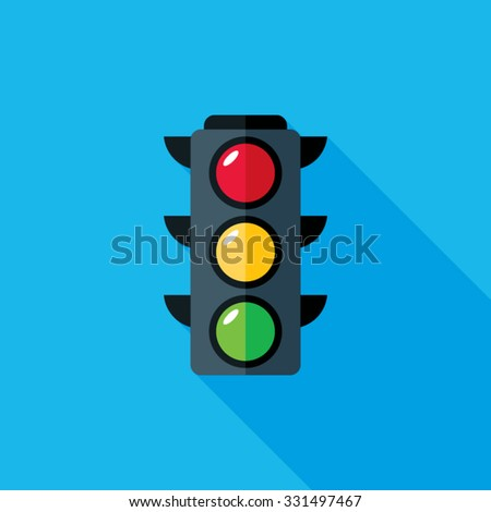 Traffic Light Flat Long Shadow Icon