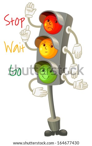 Traffic light. Follow the rules of the road. Rules for pedestrians. Vector illustration. Isolated on white background - stock vector