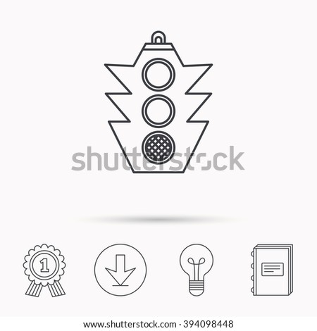 Traffic light icon. Safety direction regulate sign. Download arrow, lamp, learn book and award medal icons. - stock vector