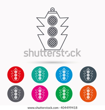 Traffic light icon. Safety direction regulate sign. Linear icons in circles on white background. - stock vector