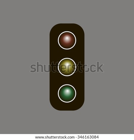 Traffic light icon, vector illustration. Flat design style