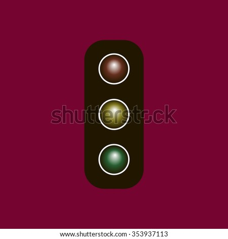 Traffic light icon vector illustration. Flat design style
