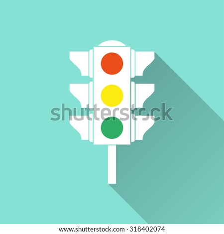 Traffic light  icon with long shadow on green background, flat design. Vector illustration. - stock vector