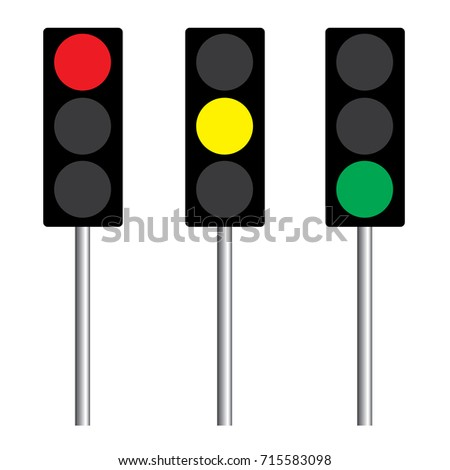 Traffic light interface three icons. Red, yellow and green (go, stop and wait) isolated on white background with pole. vector buttons EPS10.