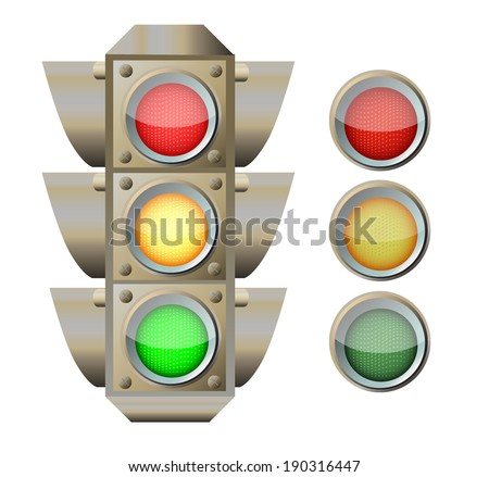 Traffic light isolated on the white