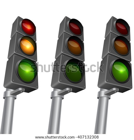Traffic light isolated on white background vector illustration. Traffic light editable vector template with organized layers. EPS10 vector format. - stock vector