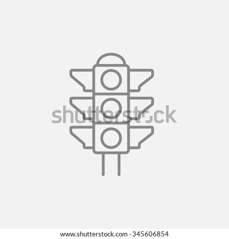 Traffic light line icon for web, mobile and infographics. Vector dark grey icon isolated on light grey background. - stock vector