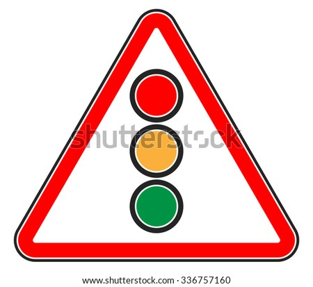 Traffic light, semaphore on triangle road sign. - stock vector