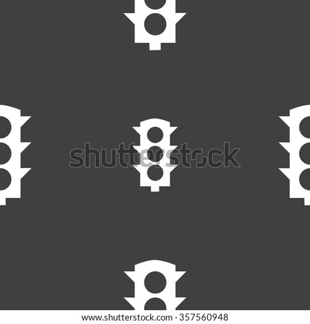 Traffic light signal icon sign. Seamless pattern on a gray background. Vector illustration - stock vector