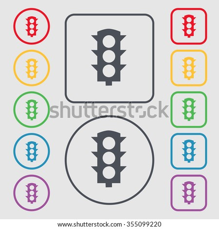 Traffic light signal icon sign. symbol on the Round and square buttons with frame. Vector illustration - stock vector