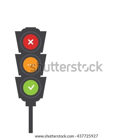 Traffic light signals. Flat illustration. Safety infographic. Vector image of semaphore with place for your text on white background. Yes, no and wait.