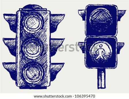 Traffic light. Sketch - stock vector