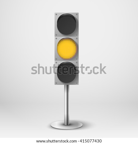 Traffic light vector illustration. Yellow diod traffic light. Template for design