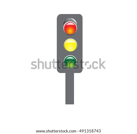 Traffic light with red, yellow and green signals on a white background. Vector illustration.