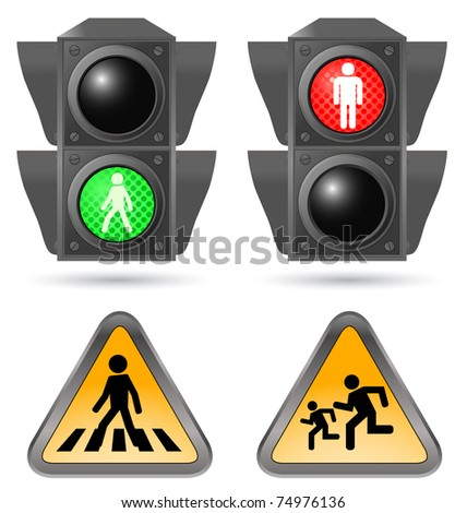 traffic light with road sign - stock vector