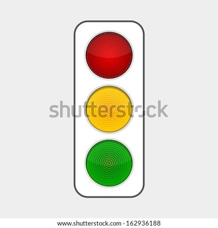 traffic light with three luminous light bulbs - stock vector