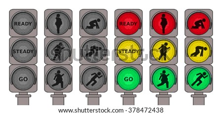 Traffic lights for running pedestrians - stock vector