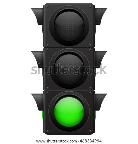Traffic lights. Green lamp on. Vector illustration isolated on white background