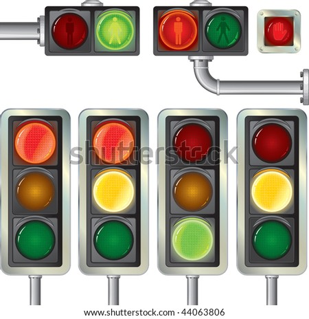 Traffic lights high.Detailed vector isolated on white - stock vector