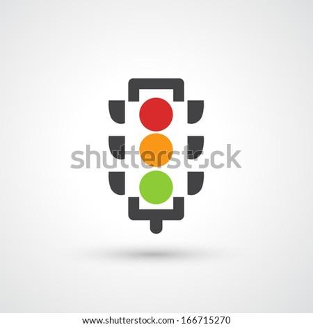 Traffic lights icon vector - stock vector