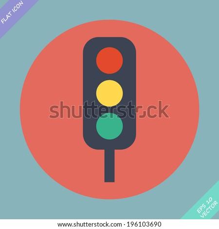 Traffic lights icon - vector illustration. Flat design element - stock vector