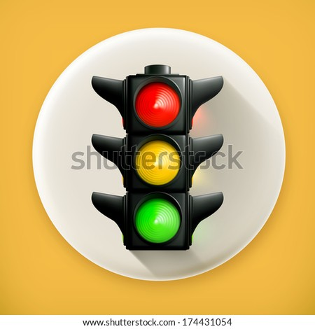 Traffic lights, long shadow vector icon - stock vector