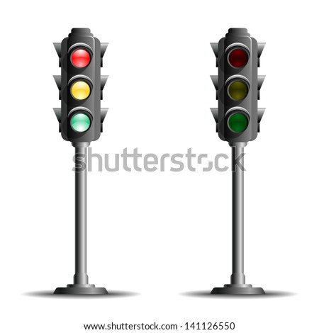 Traffic lights or stop lights (Road Signal) on a metal pole with red, yellow and green lights  - icon isolated on white background. Vector. - stock vector