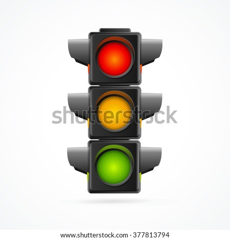 Traffic Lights Realistic on White Background. Vector illustration - stock vector